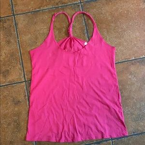 Bright Pink Knotted Racerback Tank Top